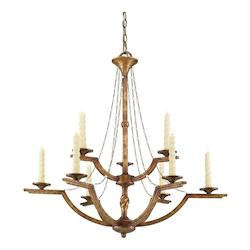 Golden Grecian Gold Athena 9 Light 2 Tier Candle Style Chandelier
