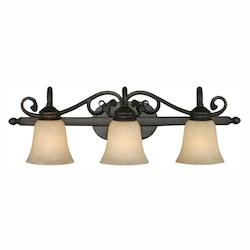 Golden Rubbed Bronze Belle Meade 3 Light Bathroom Vanity Light