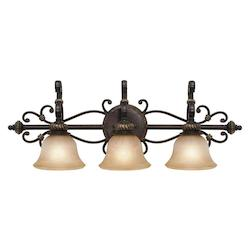 Golden Etruscan Bronze Three Light Bathroom Fixture from the Jefferson Collection