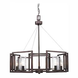 Golden Gunmetal Bronze Marco 5 Light 1 Tier Chandelier with Clear Glass Shades