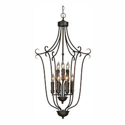Golden Rubbed Bronze Nine Light Foyer Pendant