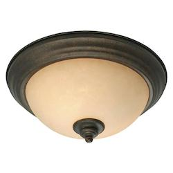 Golden Burnt Sienna Two Light Flush Mount Ceiling Fixture from the Heartwood Collection