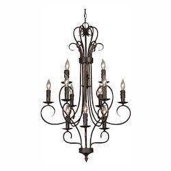 Golden Rubbed Bronze Twelve Light Chandelier from the Centennial Collection