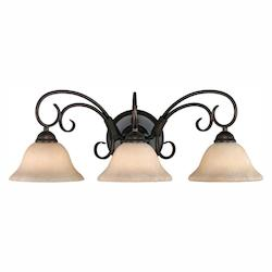 Golden Rubbed Bronze Homestead 3 Light Bathroom Vanity Light - 24.25 Inches Wide