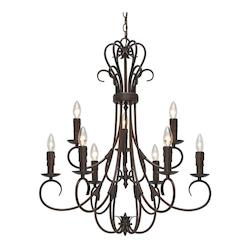 Golden Rubbed Bronze Homestead 9 Light Double Tier Chandelier