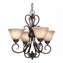 Golden Rubbed Bronze Four Light Mini Chandelier from the Homestead RBZ Collection