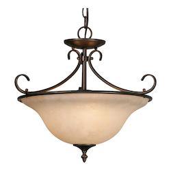 Golden Rubbed Bronze Three Light Convertible Bowl Pendant Ceiling Fixture
