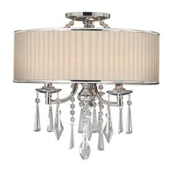 Golden Chrome Three Light Semi Flush Ceiling Fixture from the Echelon Collection