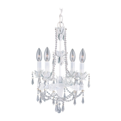 Livex Lighting Antique White 4 Light 240W Mini Chandelier With Candelabra Bulb Base