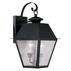 Livex Lighting Black Mansfield Medium Outdoor Wall Sconce With 2 Lights