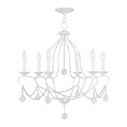 Livex Lighting Six Light Antique White Up Chandelier
