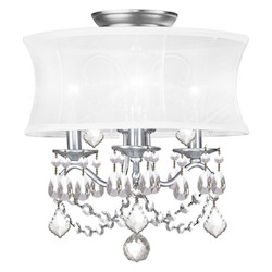 Livex Lighting Brushed Nickel Newcastle 3 Light Semi-Flush Ceiling Fixture