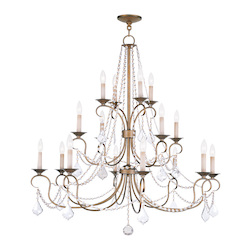 Livex Lighting Antique Gold Leaf Pennington 20 Light 3 Tier Chandelier