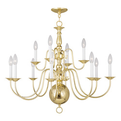 Livex Lighting Twelve Light Polished Brass Up Chandelier