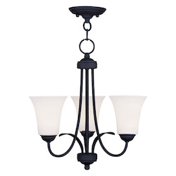 Livex Lighting Black Ridgedale 16.5 Inch Tall Up Lighting 1 Tier Chandelier With 3 Lights
