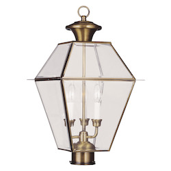 Livex Lighting Antique Brass Westover 3 Light Outdoor Post Light