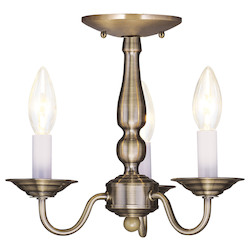Livex Lighting Antique Brass 3 Light Semi-Flush Ceiling Fixture