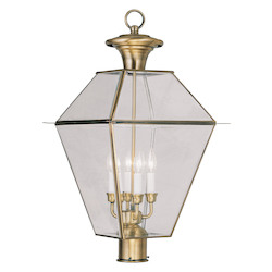 Livex Lighting Antique Brass 4 Light Westover Post Light With Clear Beveled Glass