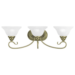Livex Lighting Antique Brass Coronado 3 Light Bathroom Vanity Light