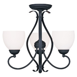 Livex Lighting Black Brookside 17.25 Inch Tall Up Chandelier With 3 Lights