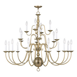 Livex Lighting Antique Brass Williamsburg 22 Light 3 Tier Chandelier