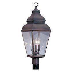 Livex Lighting Bronze 3 Light 180W Post Light With Candelabra Bulb Base And Clear Beveled Glass