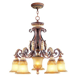 Livex Lighting Verona Bronze 5 Light 500W Chandelier With Medium Bulb Base And Rustic Art Glass