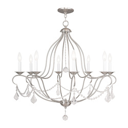 Livex Lighting Eight Light Brushed Nickel Up Chandelier
