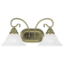 Livex Lighting Antique Brass Coronado 2 Light Bathroom Vanity Light
