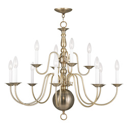 Livex Lighting Antique Brass Williamsburg 12 Light 2 Tier Chandelier