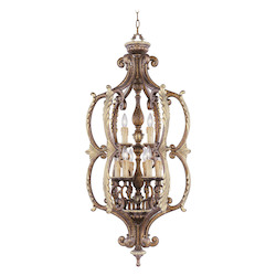 Livex Lighting Palacial Bronze With Gilded Accents Open Frame Foyer Hall Fixture
