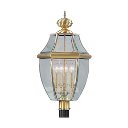 Livex Lighting Antique Brass Monterey 4 Light Outdoor Post Light