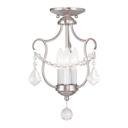 Livex Lighting Three Light Brushed Nickel Up Chandelier