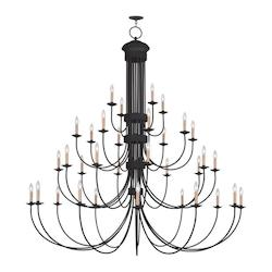 Livex Lighting Black Heritage 34 Light 4 Tier Chandelier