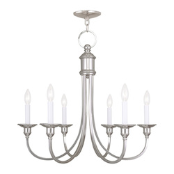 Livex Lighting Six Light Polished Nickel Up Chandelier
