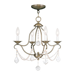 Livex Lighting Antique Brass Chesterfield 4 Light 1 Tier Mini Chandelier