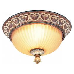 Livex Lighting Verona Bronze With Aged Gold Leaf Accents Bowl Flush Mount
