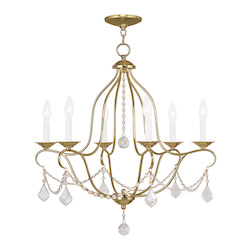 Livex Lighting Six Light Polished Brass Up Chandelier