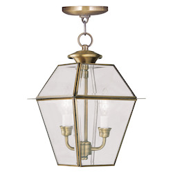 Livex Lighting Antique Brass Westover Outdoor Pendant With 2 Lights