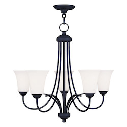 Livex Lighting Black Ridgedale 22 Inch Tall Up Lighting 1 Tier Chandelier With 5 Lights