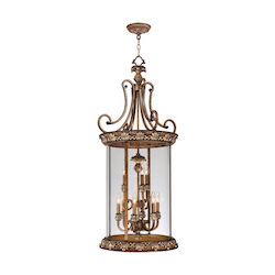 Livex Lighting Venetian Patina Framed Glass Foyer Hall Fixture