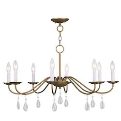 Livex Lighting Antique Gold Leaf Mercer Up Lighting 1 Tier Chandelier With 8 Lights
