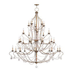 Livex Lighting Antique Gold Leaf Chesterfield 30 Light 4 Tier Chandelier