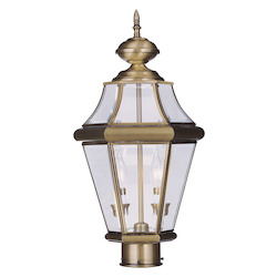Livex Lighting Antique Brass Georgetown 2 Light Outdoor Post Light