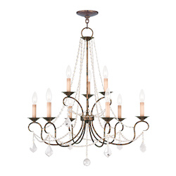 Livex Lighting Nine Light Venetian Golden Bronze Up Chandelier