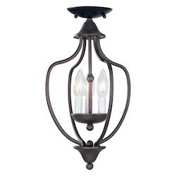 Livex Lighting Bronze 3 Light 180W Foyer Pendant With Candelabra Bulb Base