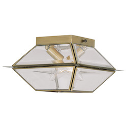 Livex Lighting Antique Brass Westover 2 Light Outdoor Semi-Flush Ceiling Fixture