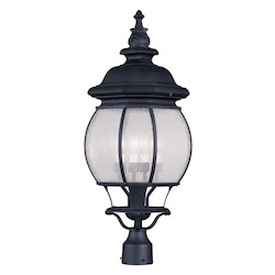 Livex Lighting Black Frontenac 27.5 Inch Tall Post Light With 4 Lights