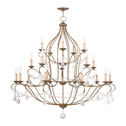 Livex Lighting Antique Gold Leaf Chesterfield 20 Light 3 Tier Chandelier