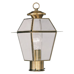 Livex Lighting Antique Brass Westover Post Light With 1 Light
